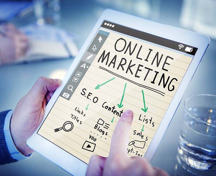 Online marketing on tablet
