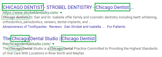 "Google results for ""Chicago Dentist"""