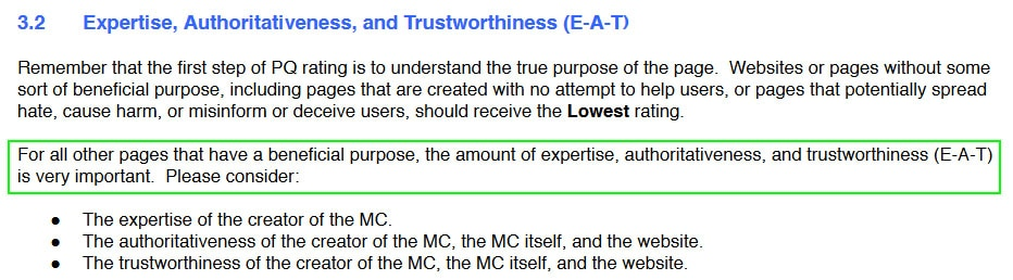 Google EAT Scoring, Expertise, Authoritativeness, Trustworthiness, E-A-T Score
