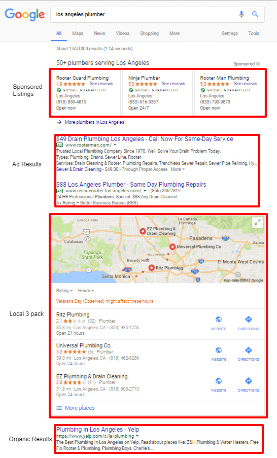 "Google results for ""Los Angeles Plumber"""