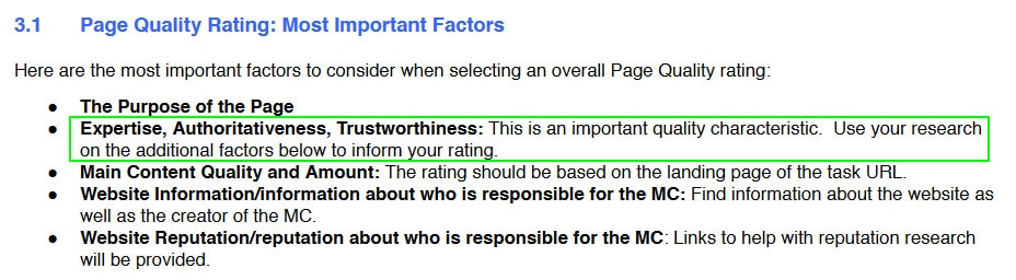 Google PQ Factor, Page Quality Factors