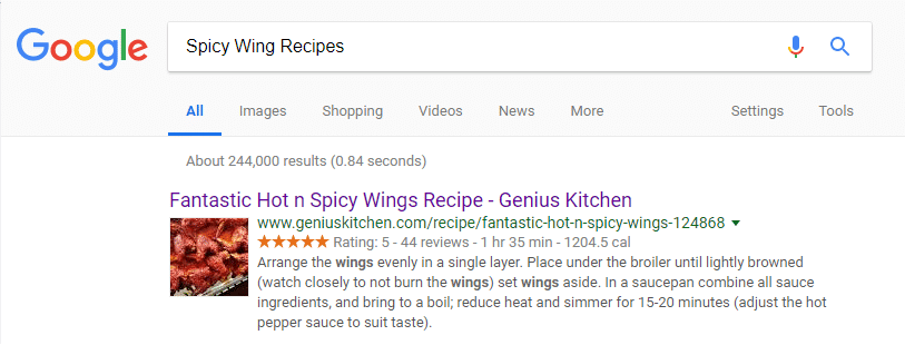 Google Result for Spicy Wing Recipes