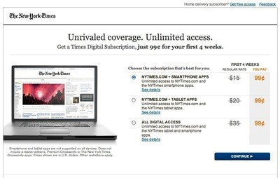 An older version of the New York Times paywall layout