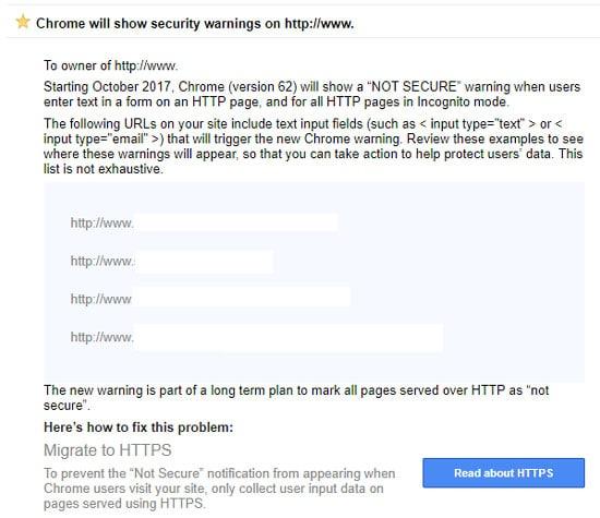 google https secure site for google warning