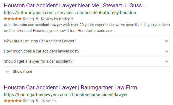 "Google search result page for ""Houston Car Accident Lawyer"""