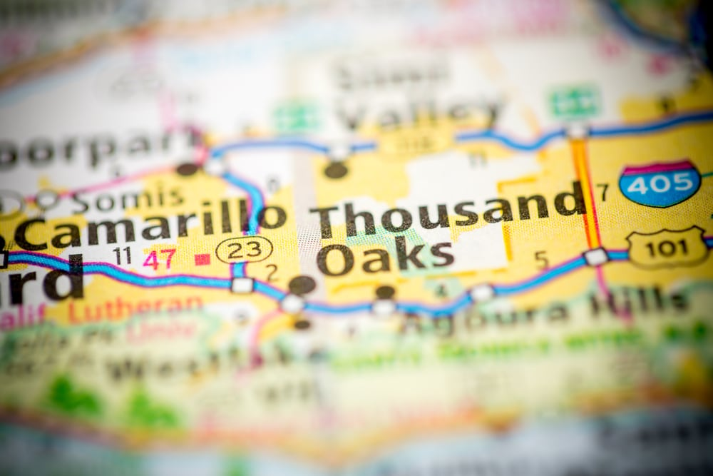 City of Thousand Oaks on paper map