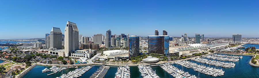 Aerial view of San Diego harbor