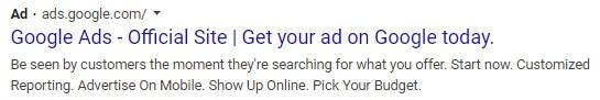New black Ads label on Google desktop results