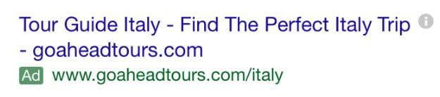 Google search ad with dark green Ad label