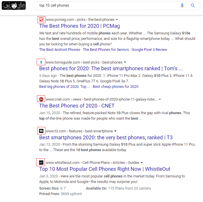 New Favicons in Google results