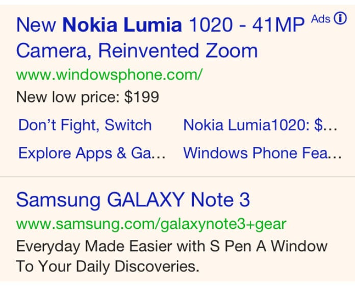 Google ads section highlighted in yellow