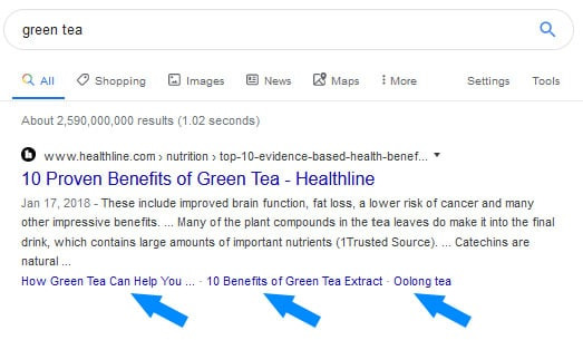 Additional links listed in Google search results