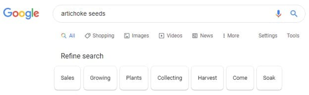 Refine search results bar on Google