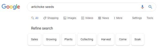 Refine search results bar on Google