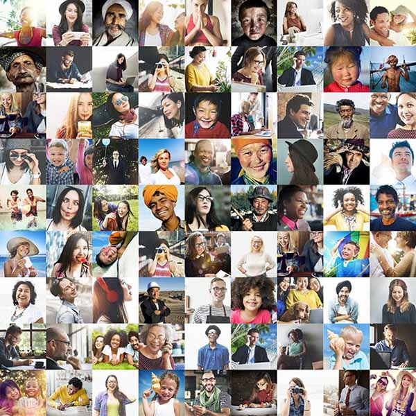 Collage of pictures from social media profiles