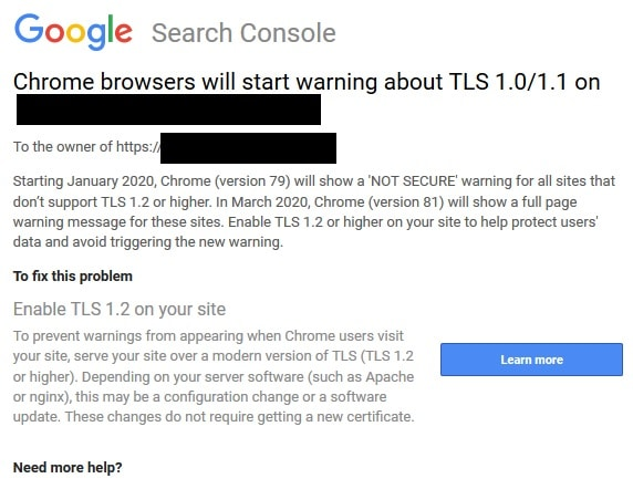 Update from Google about Chrome & TLS warnings