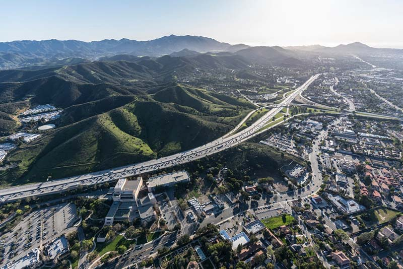 101 Freeway in Thousand Oaks from above