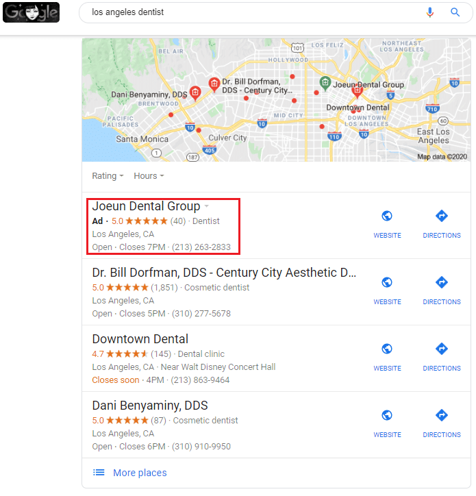 Black Ad labels in local search pack