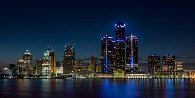 Detroit, Michigan city skyline