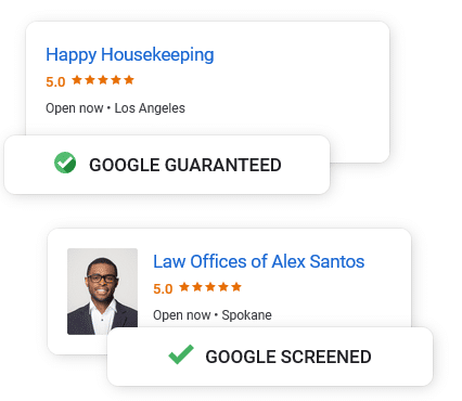 Google Screened & Googel Guaranteed Badges